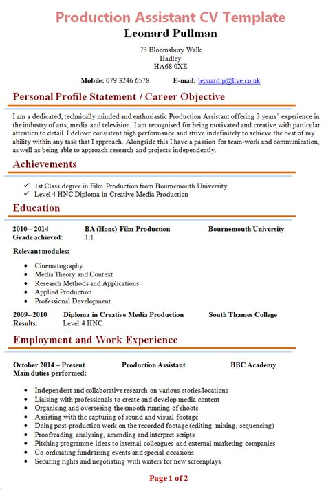 Assistant Cv Template by Production Assistant Cv Template 1