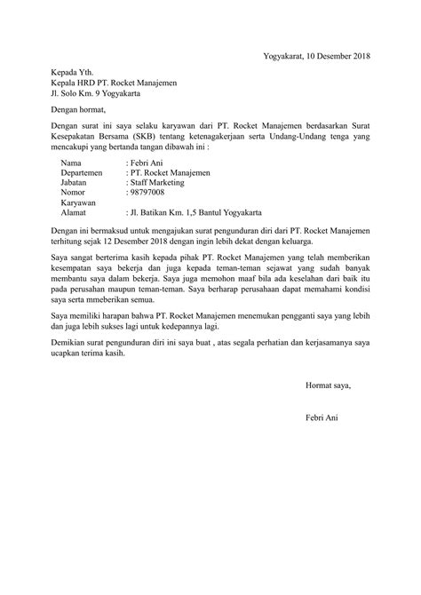 contoh surat pengunduran diri yang baik dan benar