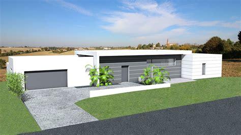 maison contemporaine 224 toit terrasse et bardage composite sur terrain en pente