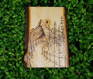 Mountain, Road, Wood, Burned, Art, Wilderness, Landscape, Pyrography, Art, Unique, Gift, One, Of, A, Kind