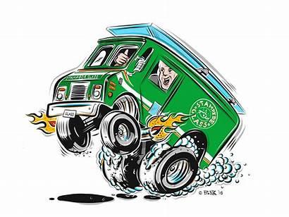 Cartoon Delivery Van Hotrod Pencil Behance Artwork