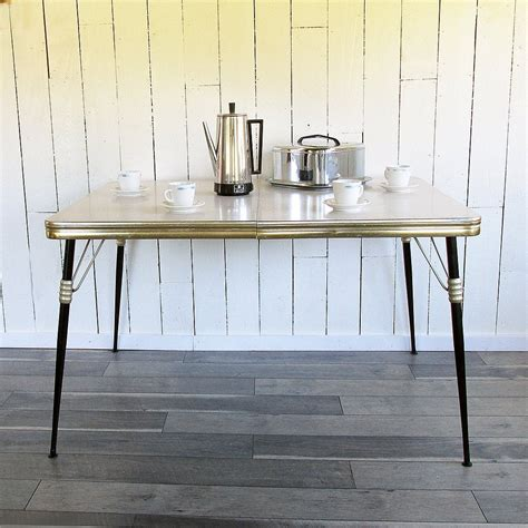 mid century modern gold black kitchen table dinette table