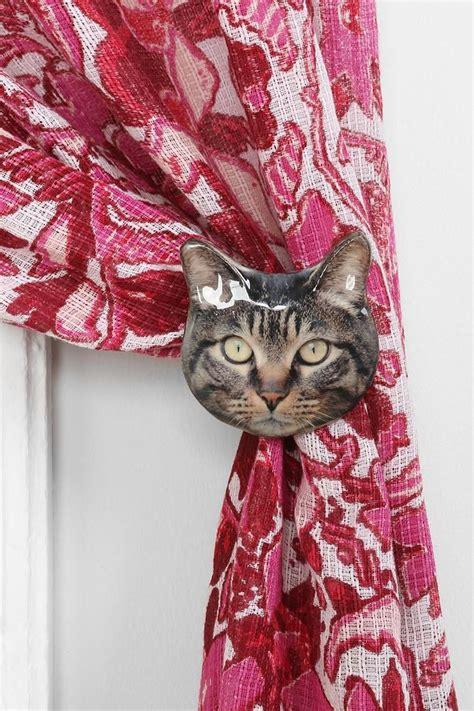 plum bow cat curtain tie back