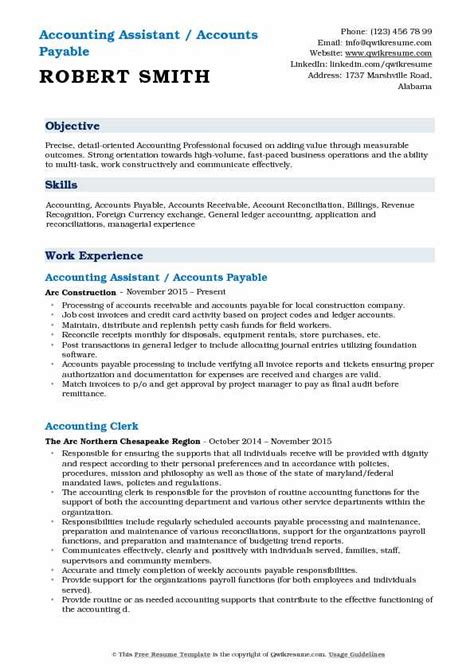 Resume For Accounting Assistant by Accounting Assistant Resume Sles Qwikresume