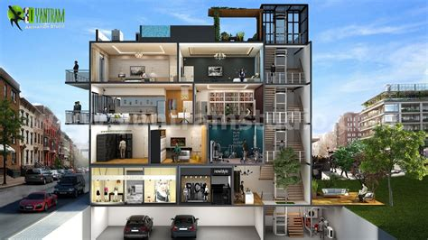 2 bedroom garage apartment floor 3d cut section design of multi family home by yantram