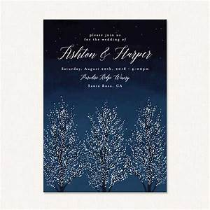 winter themed wedding invites with shimmering snowy trees With winter wedding invitations sayings