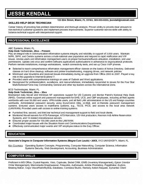 Sle Computer Help Desk Resume by Help Desk Specialist Resume