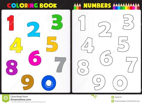 coloring book numbers stock vector illustration