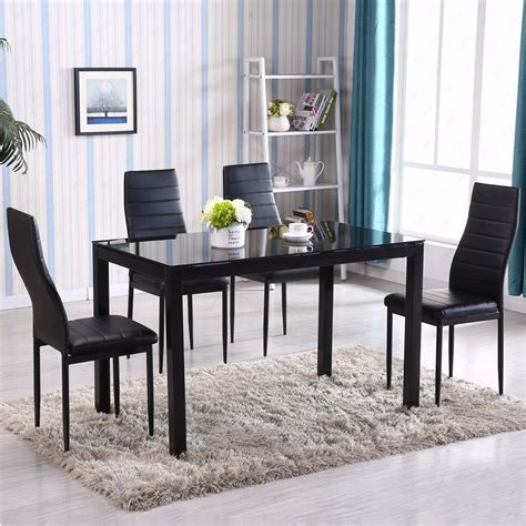 glass kitchen table with 4 chairs gracelove 5 glass metal kitchen dining table set 4