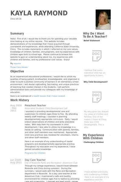 daycare resume exles teaching assistant curriculum