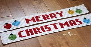 Christmas Border Word Crochet Merry Christmas Pixel Graph Repeat Crafter Me
