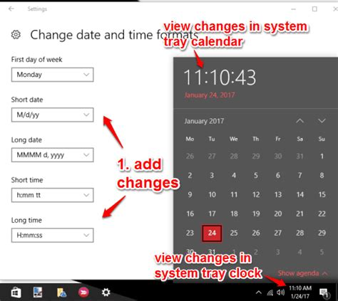 change date time formats system tray clock calendar