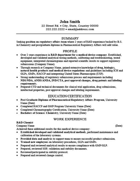 r and d chemist resume template premium resume sles