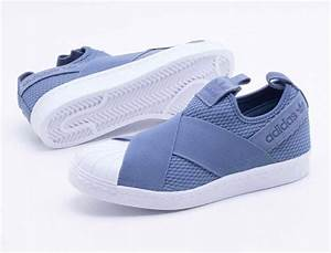 tênis adidas superstar slip on azul original novo r 469