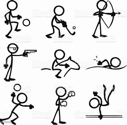 Stick Figure Figures Sports Doing Illustration Drawing