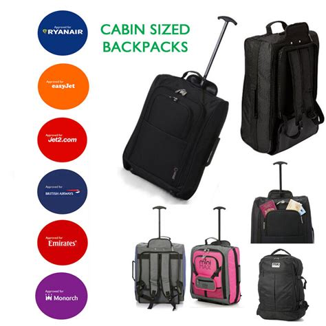 hand luggage backpacks bags trolley wheeled cabin baggage