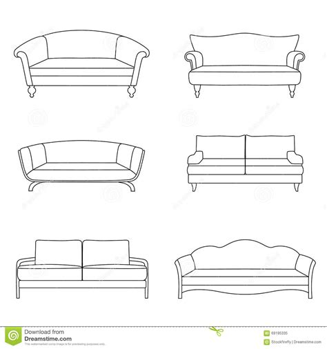 sofa outline vector a set of outline sofa stock vector image of comfort