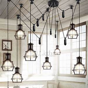 Industrial Spider Light 10 Light Country Style Industrial Kitchen Lighting Pendants
