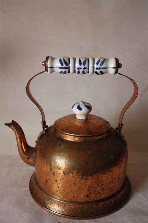 vintage copper tea kettle porcelain handle delft blue vintage copper tea kettle