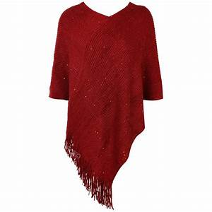 WOMENS LADIES PONCHO TOP SEQUIN JUMPER CAPE SWEATER V NECK ...