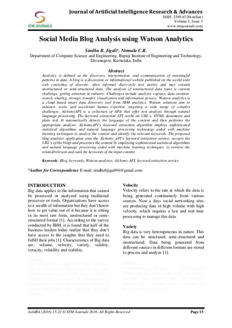 Journal of Artificial Intelligence Research & Advances vol