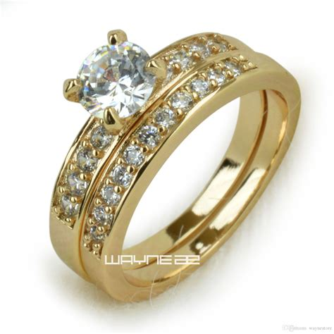 18k gold fileed womens engagement wedding ring lab diamonds r280 size 5 7 8 9 10 gold