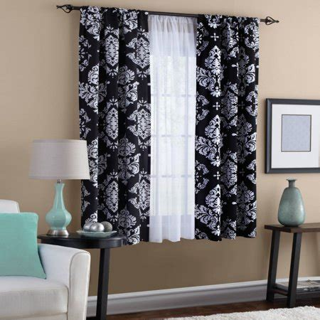 black and white drapes classic noir black and white window curtain walmart