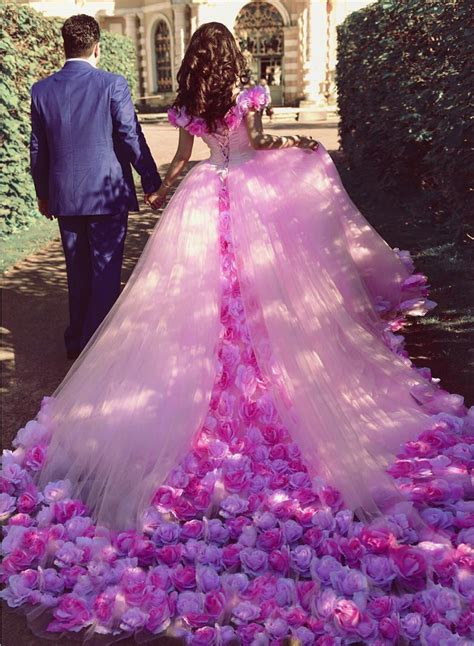 rose flower wedding dressespink wedding dressball gown