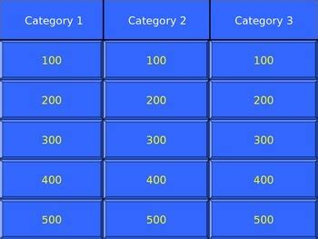 blank jeopardy template free blank jeopardy template 3 category jeopardy tpt