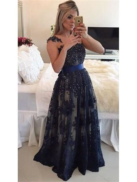 DARK NAVY LACE APPLIQUE TRANSPARENT BACK BEADED LONG PROM ...