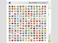 Glossy Flags Set Asia & Africa Cartoon Vector