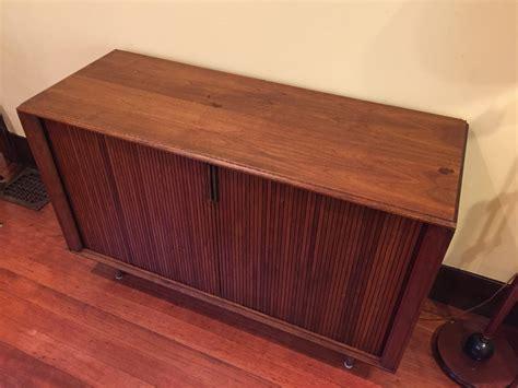 sold barzilay tambour door media cabinet modern  vintage