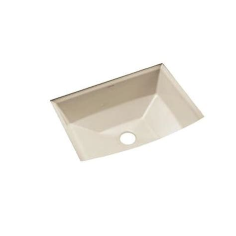 kohler archer vitreous china undermount bathroom sink with overflow drain in almond with