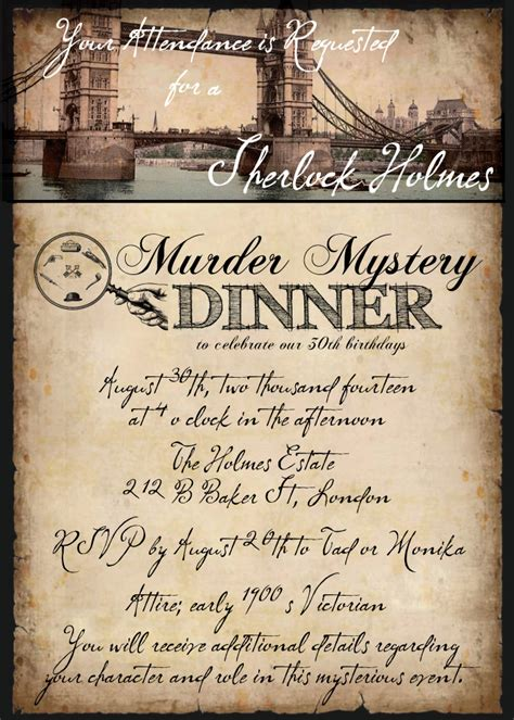 mystery murder invitations halloween birthday party dinner sherlock holmes invitation clue parties decor 30th template invites room printable british host