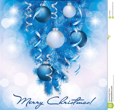 merry christmas banner  blue silver balls royalty