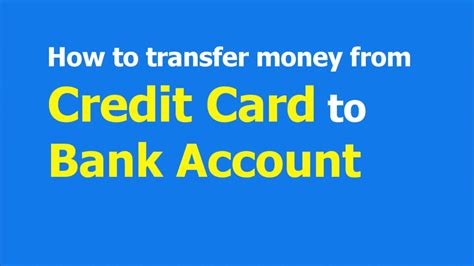 We did not find results for: How to transfer money from Credit card to Bank account ...