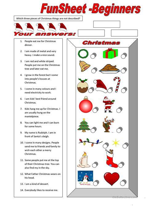 funsheet  beginners christmas worksheet  esl