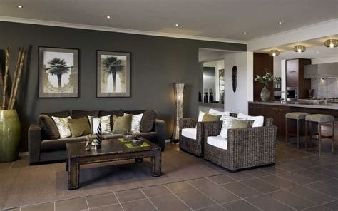 brown tiles feature wall living area lounge room