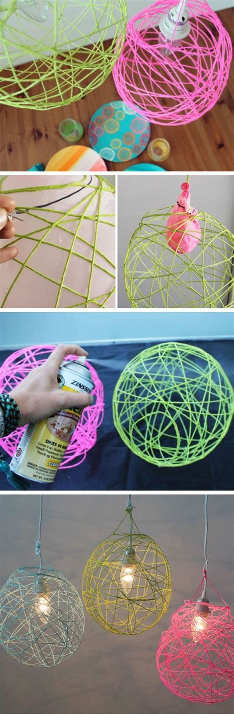 illuminated yarn lanterns  diy teenage girl bedroom
