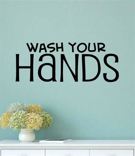 wash  hands bathroom decor vinyl wall decals sticker