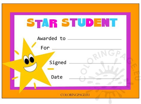 star student certificate coloring page