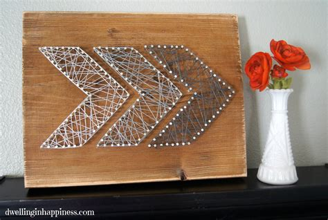 easy rustic arrow string art dwelling  happiness