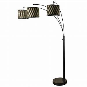 madison bronze three arm arch floor lamp with metal shades With 3 arm floor lamp shade