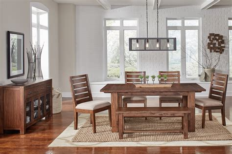Some open shelves with book and decor items decorate one side of the wall which makes the room look way more decorative. A America Dining Room 6 Piece Modern Rustic dining group in solid mahogany wood ANASM6300-Set ...