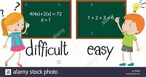 Opposite adjectives difficult and easy illustration Stock ...