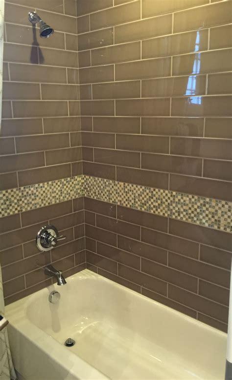 brown glass subway tile  bathroom shower home
