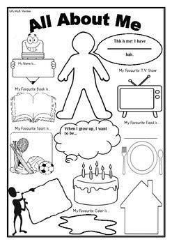 all about me worksheet day of school activity tpt