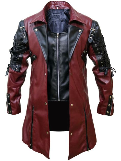Mens Steampunk Gothic Leather Maroon Coat Jacket All