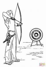 Coloring Archery Pages Printable Drawing Paper sketch template