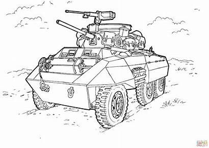 Coloring Pages Greyhound Armored M8 Military Printable